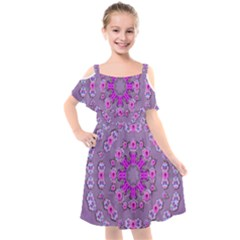 Beautiful Floral Wreaths And Flowers Around The Earth Kids  Cut Out Shoulders Chiffon Dress by pepitasart