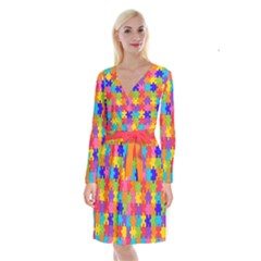 Jigsaw Rainbow Long Sleeve Velvet Front Wrap Dress by TimelessFashion