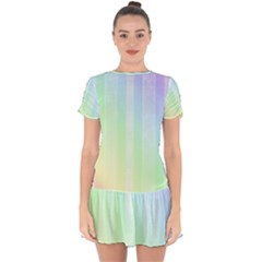 Lace On A Rainbow Drop Hem Mini Chiffon Dress by TimelessFashion