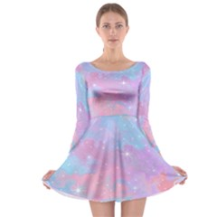 Pink And Blue Sensation Long Sleeve Skater Dress by TimelessFashion
