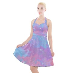 Pink And Blue Sensation Halter Party Swing Dress  by TimelessFashion