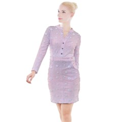 Sweet Flowers In Soft  Pink Button Long Sleeve Dress by TimelessFashion