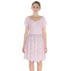 Sweet Flowers In Soft  Pink Short Sleeve Bardot Dress by TimelessFashion