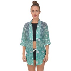 Sweet Flowers In Turquoise Open Front Chiffon Kimono