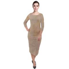 Vintage Look Quarter Sleeve Midi Velour Bodycon Dress by TimelessFashion