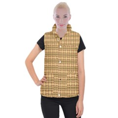 Cute Flowers Pattern Yellow Women s Button Up Vest