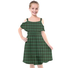 Argyle Dark Green Brown Pattern Kids  Cut Out Shoulders Chiffon Dress by BrightVibesDesign