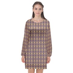 Ornate Oval Pattern Brown Blue Long Sleeve Chiffon Shift Dress  by BrightVibesDesign