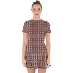 Ornate Oval Pattern Brown Blue Drop Hem Mini Chiffon Dress by BrightVibesDesign