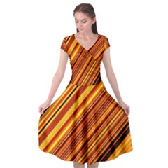 Diagonal Stripes 1 Cap Sleeve Wrap Front Dress by TimelessFashion