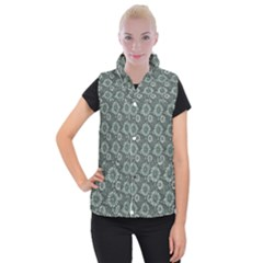 Flowers Delight Green Women s Button Up Vest
