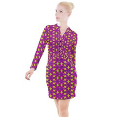 Flower Power Button Long Sleeve Dress by TimelessFashion