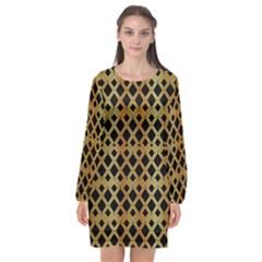 Gold On Black Long Sleeve Chiffon Shift Dress  by TimelessFashion