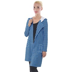 Grid In Blue Hooded Pocket Cardigan by TimelessFashion