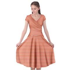 Grid In Orange Cap Sleeve Wrap Front Dress