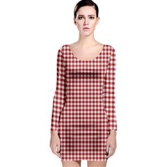 Grid In Red Long Sleeve Bodycon Dress by TimelessFashion
