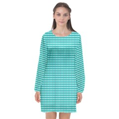 Grid In Turquoise Long Sleeve Chiffon Shift Dress  by TimelessFashion