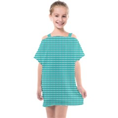 Grid In Turquoise Kids  One Piece Chiffon Dress by TimelessFashion
