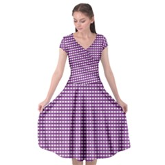 Grid In Purple Cap Sleeve Wrap Front Dress