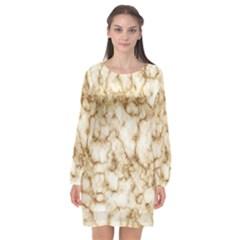 Marble Effect Long Sleeve Chiffon Shift Dress  by TimelessFashion