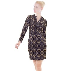 Vintage Look  Button Long Sleeve Dress by TimelessFashion