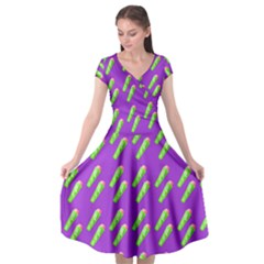 Ice Freeze Purple Pattern Cap Sleeve Wrap Front Dress by snowwhitegirl
