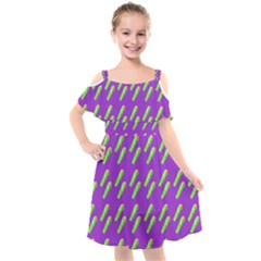 Ice Freeze Purple Pattern Kids  Cut Out Shoulders Chiffon Dress by snowwhitegirl