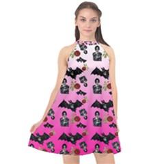 Pink Gradient Bat Pattern Halter Neckline Chiffon Dress  by snowwhitegirl