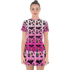 Pink Gradient Bat Pattern Drop Hem Mini Chiffon Dress by snowwhitegirl