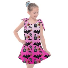 Pink Gradient Bat Pattern Kids  Tie Up Tunic Dress by snowwhitegirl
