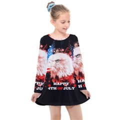 Happy 4th Of July Kids  Long Sleeve Dress by FantasyWorld7