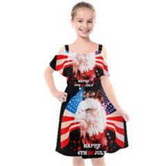 Happy 4th Of July Kids  Cut Out Shoulders Chiffon Dress by FantasyWorld7
