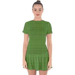 Green Knitting Pattern Drop Hem Mini Chiffon Dress