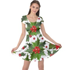 Red Berries Pattern Cap Sleeve Dress by goljakoff