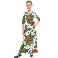 Red Berries Pattern Kids  Quarter Sleeve Maxi Dress by goljakoff