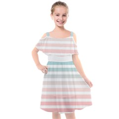 Horizontal Pinstripes In Soft Colors Kids  Cut Out Shoulders Chiffon Dress by shawlin
