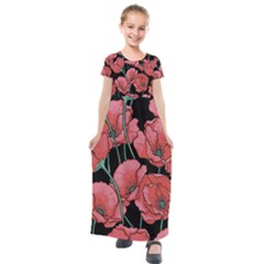 Poppy Flower Kids  Short Sleeve Maxi Dress by goljakoff