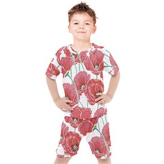 Red Poppy Flowers Pattern Kids  Tee And Shorts Set by goljakoff
