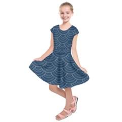 Blue Sashiko Kids  Short Sleeve Dress by goljakoff