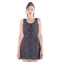 Black Sashiko Scoop Neck Skater Dress by goljakoff