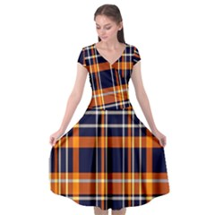 Tartan Pattern Cap Sleeve Wrap Front Dress by ArtworkByPatrick