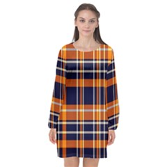 Tartan Pattern Long Sleeve Chiffon Shift Dress
