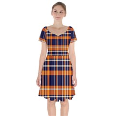 Tartan Pattern Short Sleeve Bardot Dress