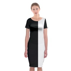 Wow Black White Ray Classic Short Sleeve Midi Dress by wowclothings