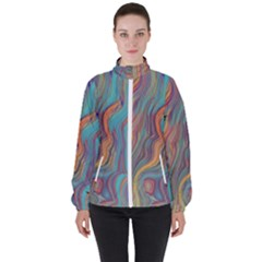 Colorful Sketch Women s High Neck Windbreaker by bloomingvinedesign