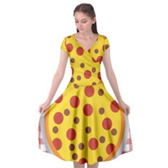 Pizza Table Pepperoni Sausage Copy Cap Sleeve Wrap Front Dress by Nexatart