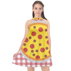 Pizza Table Pepperoni Sausage Copy Halter Neckline Chiffon Dress  by Nexatart