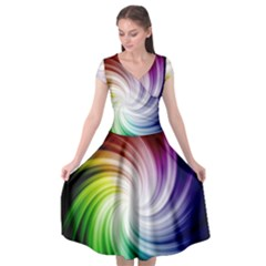 Rainbow Swirl Twirl Cap Sleeve Wrap Front Dress
