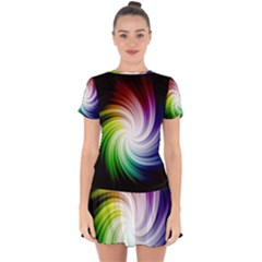 Rainbow Swirl Twirl Drop Hem Mini Chiffon Dress by Nexatart