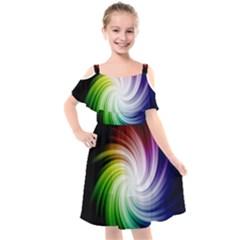 Rainbow Swirl Twirl Kids  Cut Out Shoulders Chiffon Dress by Nexatart